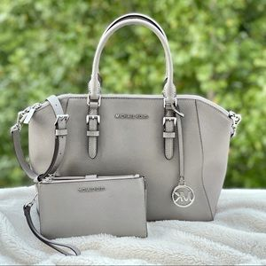 Michael Kors Ciara Pearl Gray Tote & Wallet Set